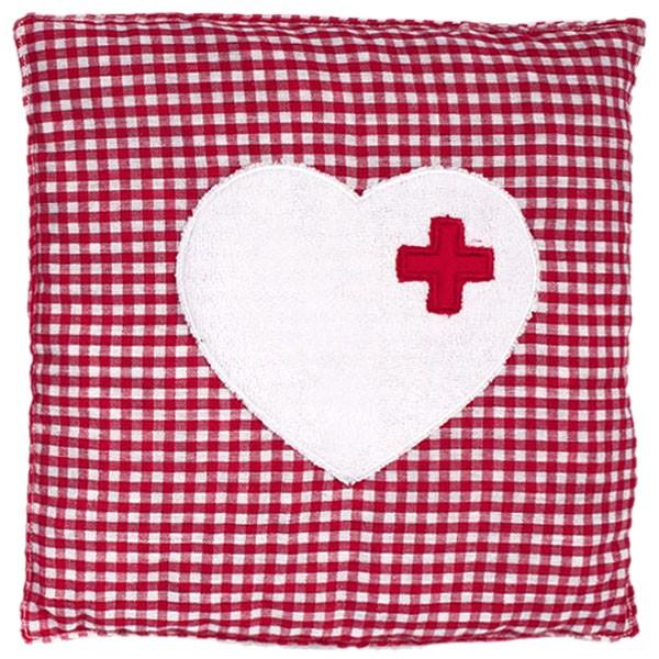 Wärmekissen karriert mit Herz, rot
