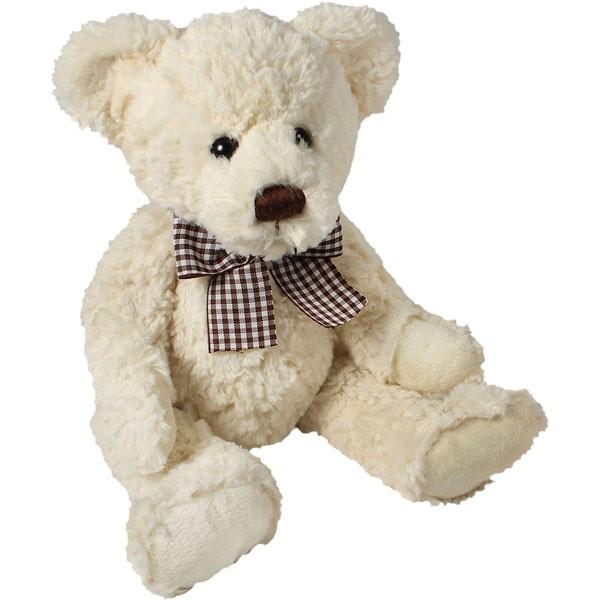 Classic Bär, sitzend mit braun-weißer Schleife, weiß, 22cm