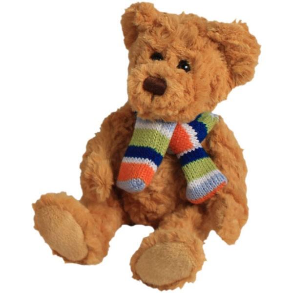 Classic Bär, sitzend mit Schal, goldbraun, 12cm