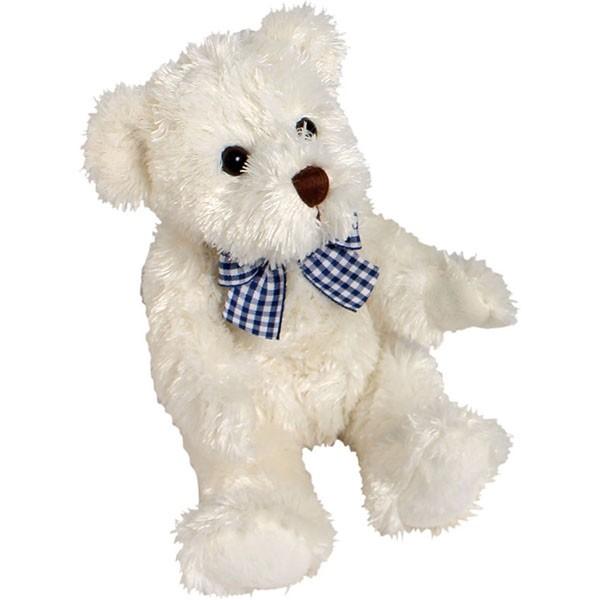 Classic Bär, mit blauer-weißer Schleife, weiß, 12cm