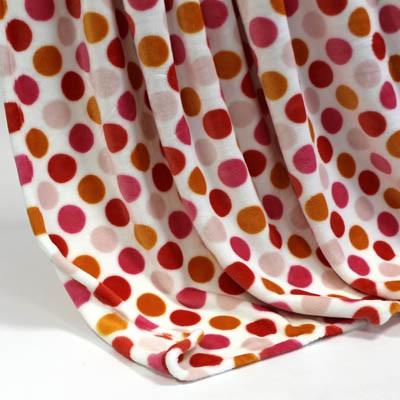 Decke SilkTouchPrint weiss mit roten Punkten, ca. 150 cm x 200 cm