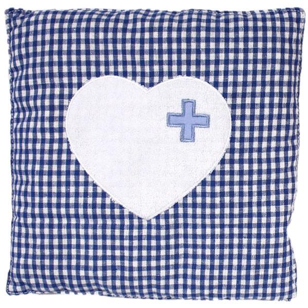 Wärmekissen karriert mit Herz, blau
