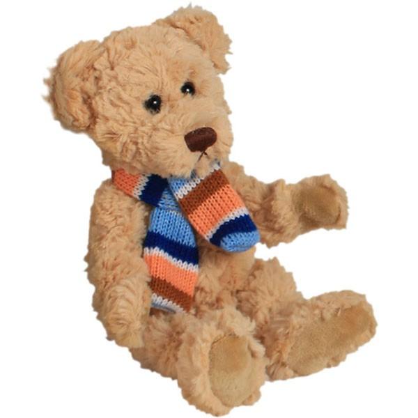 Classic Bär, sitzend mit Schal, hellbraun, 12cm