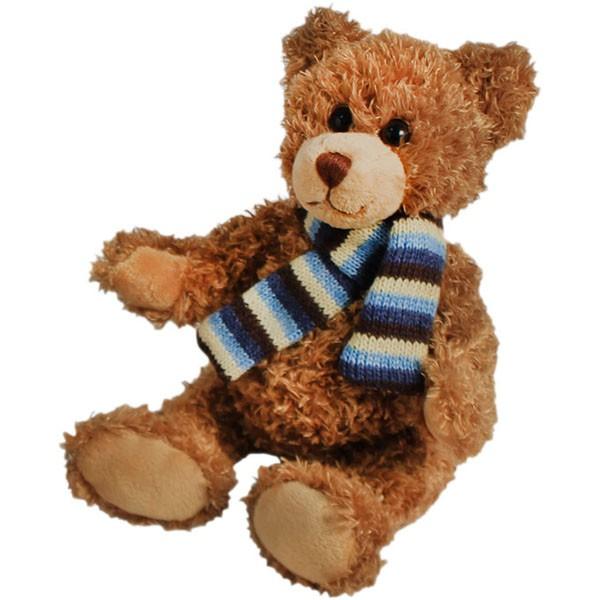 Classic Bär, sitzend , mit Schal, braun, 12cm