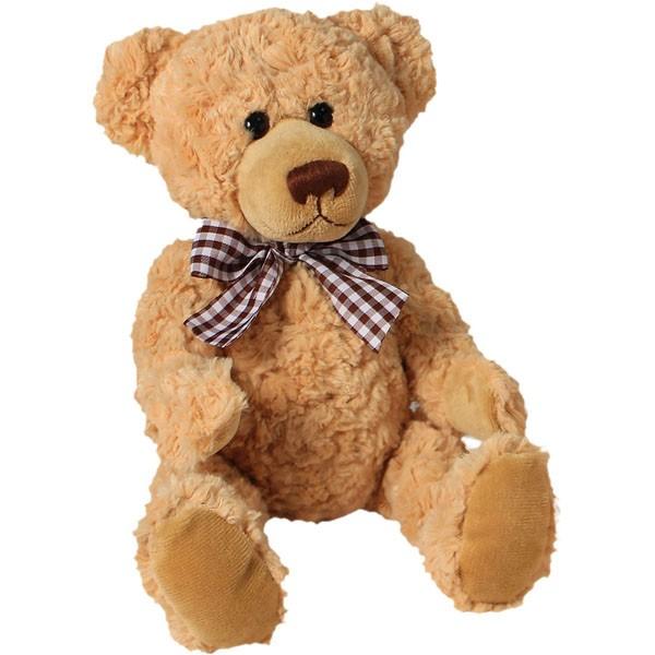 Classic Bär, mit braun-weißer Schleife, hellbraun, 22cm