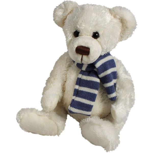 Classic Bär, mit Schal blau, weiß, 22cm