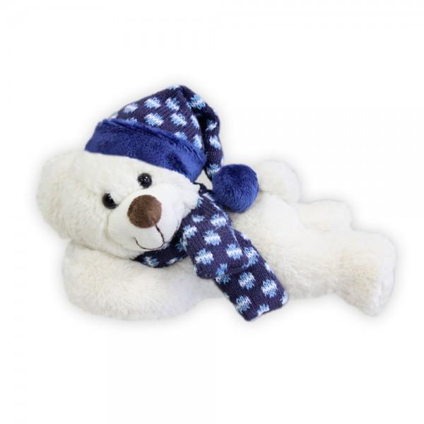 Baer mit Mütze und Schal, liegend, ca. 22cm