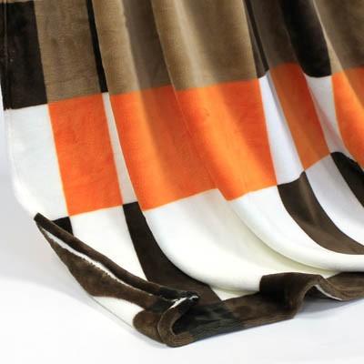 Decke SilkTouchPrint braun/orange/weiss, ca. 150 cm x 200 cm
