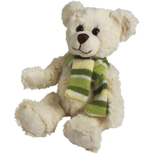 Classic Bär, sitzend mit Schal grün, weiß, 12cm