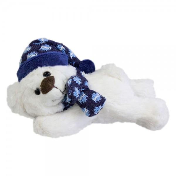 Baer mit Mütze und Schal, liegend, ca. 15cm
