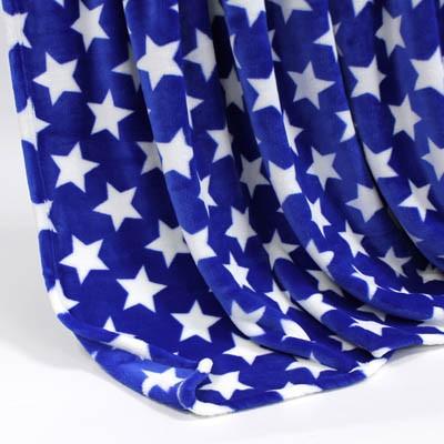 Decke SilkTouchPrint blau mit weißen Sternen, ca. 150 cm x 200 cm