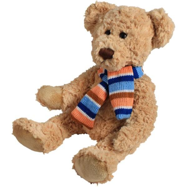 Classic Bär, sitzend mit Schal, hellbraun, 22cm