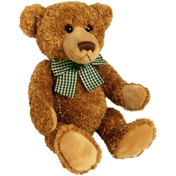 Classic Bär, mit grün-gelber Schleife, goldbraun, 22cm