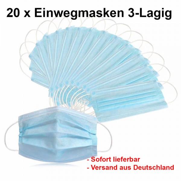 50 x Einwegmaske 3-Lagig Mund-Nasen-Schutz Mundbedeckung Gesichtsmaske Behelfsmaske