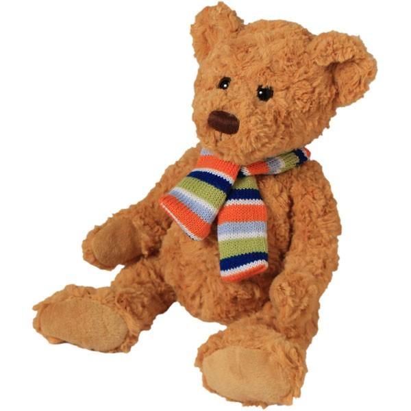 Classic Bär, sitzend mit Schal, goldbraun, 22cm