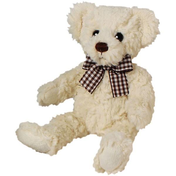Classic Bär, sitzend mit braun-weißer Schleife, weiß, 12cm