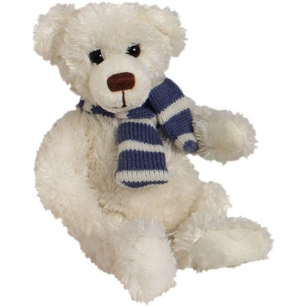 Classic Bär, sitzend mit Schal blau, weiß, 12cm
