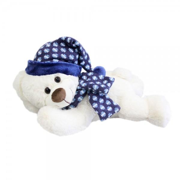 Baer mit Mütze und Schal, liegend, ca. 30cm