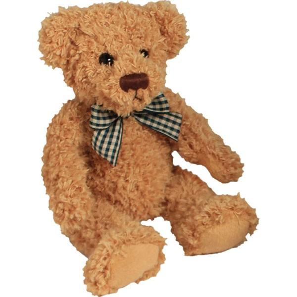 Classic Bär, sitzend, mit grün-gelber Schleife, hellbraun 12cm
