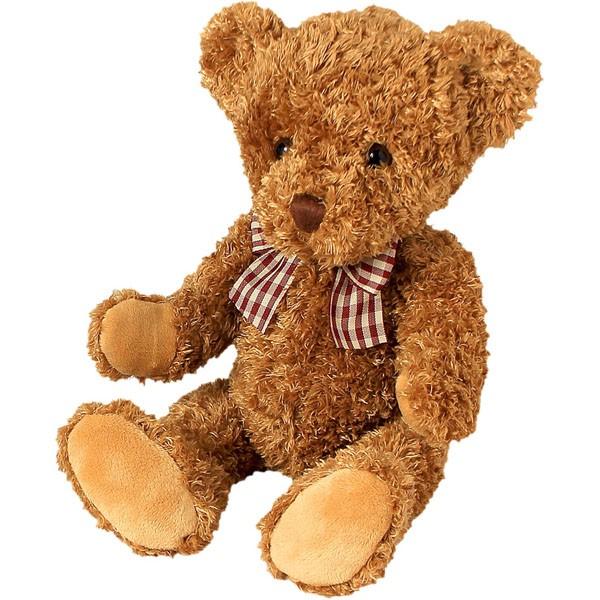 Classic Bär, mit braun-weißer Schleife, mittelbraun, 22cm